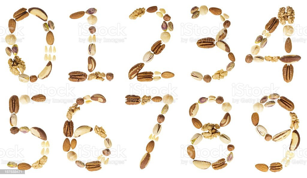 Nuts digits (numbers), 0-9 royalty-free stock photo