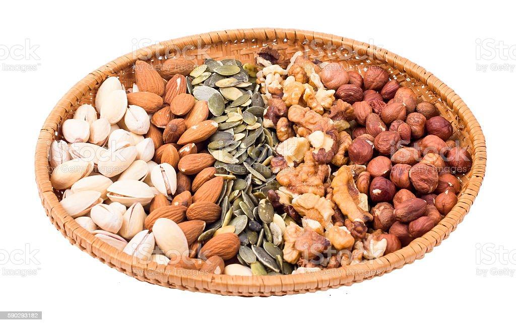 Nuts in a basket royaltyfri bildbanksbilder