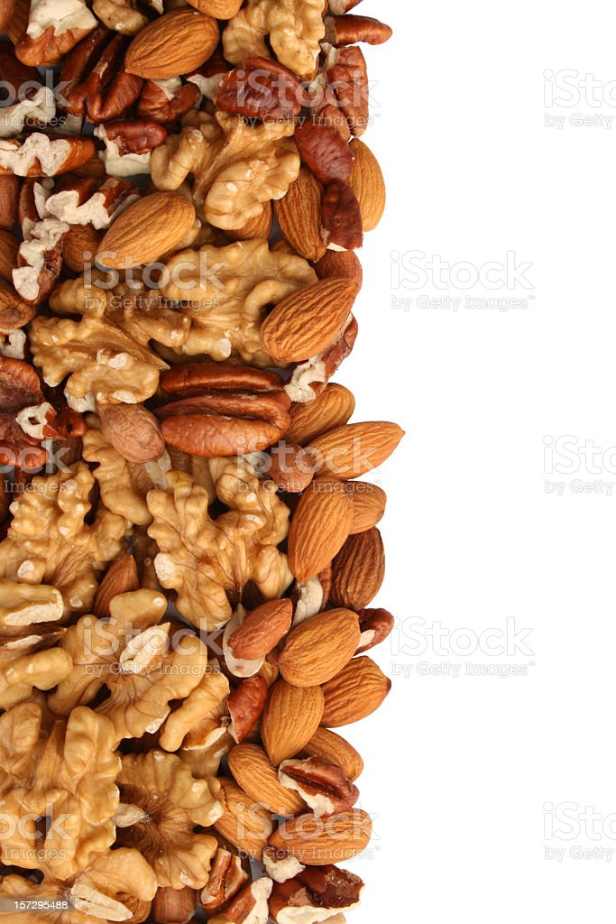 Nuts left side frame royalty-free stock photo