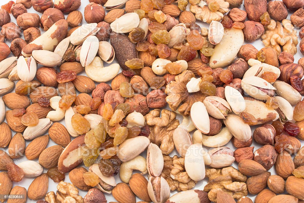 Nuts Mix and Raisins as Background Nuts Mix and Raisins as Background. Abundance Stock Photo