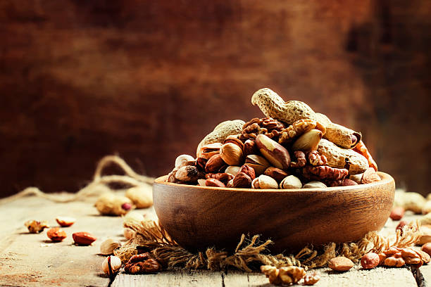 Nuts mix, healthy and beneficial food stock photo