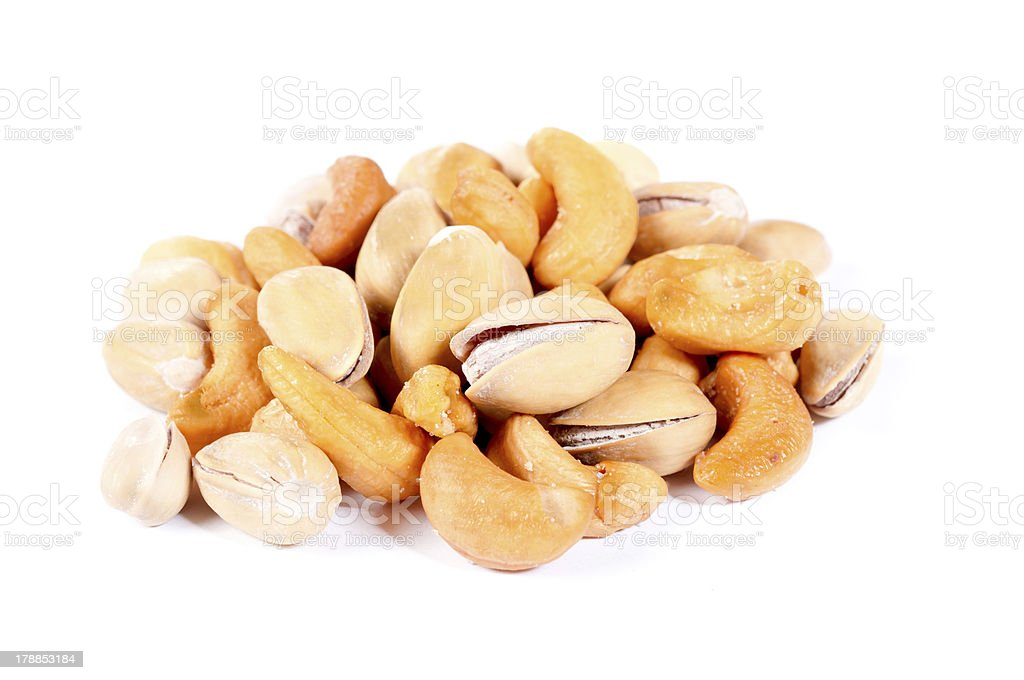 Nuts mix isolated royalty-free stock photo