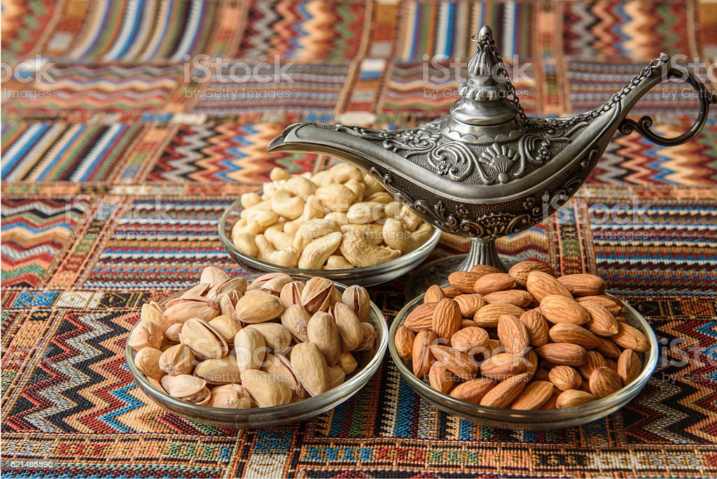 Nuts on a traditional Arabian carpet foto stock royalty-free