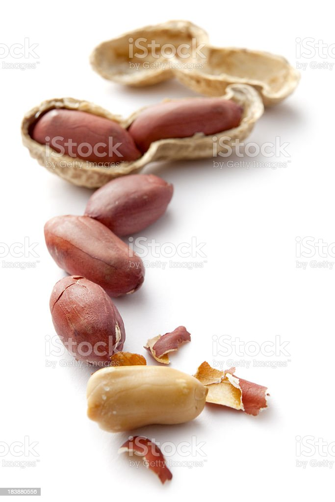 Nuts: Peanuts Isolated on White Background royalty-free stock photo