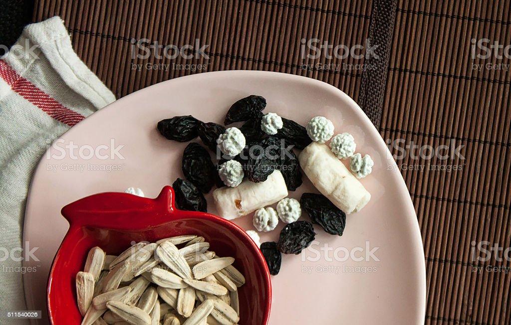 Nuts, sunflower seeds, grains and akide stok fotoğrafı