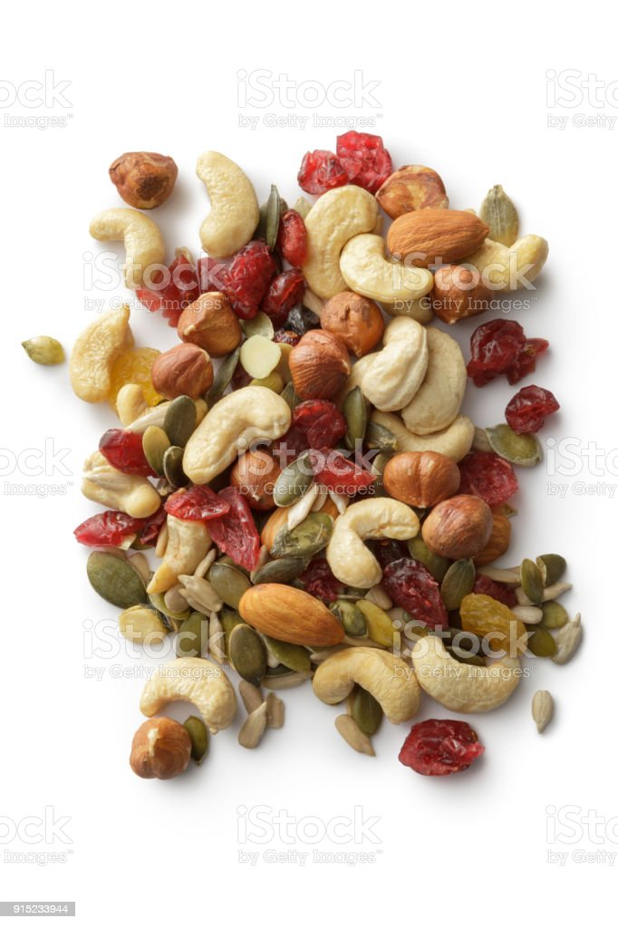 Nuts: Trail Mix Isolated on White Background stock photo