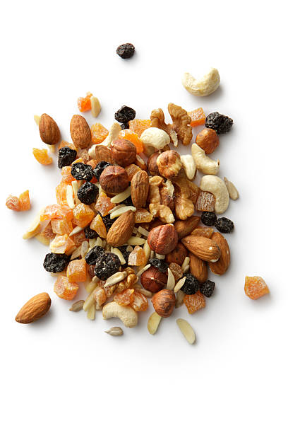 nuts: trail mix - dried fruit stock photos and pictures