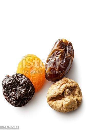 Nuts: Variety of Dried Fruits Isolated on White Background