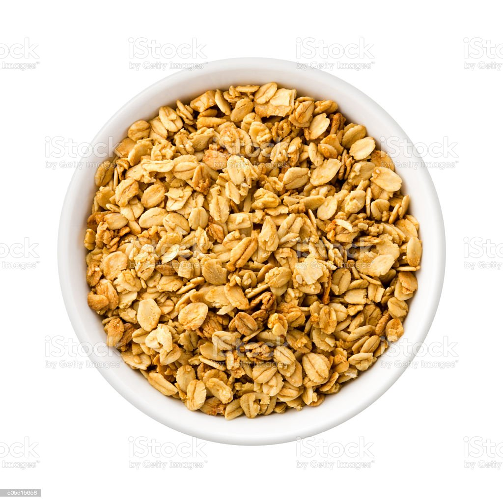 Nutty Granola in a ceramic bowl stock photo