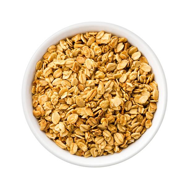 Nutty Granola in a ceramic bowl stock photo