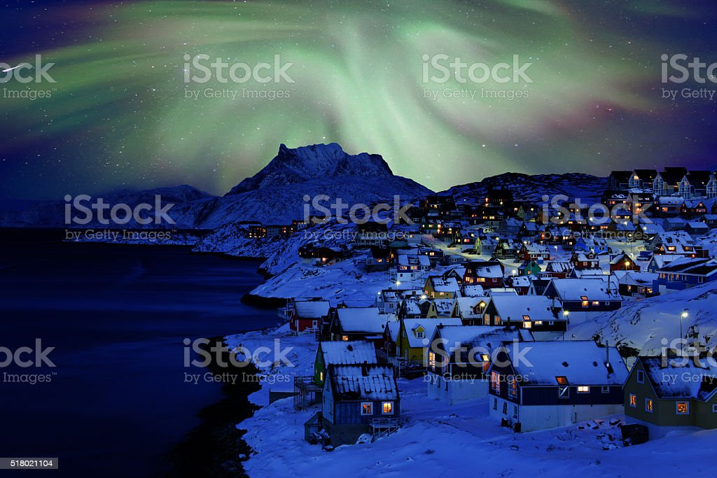 Nuuk Old Town Northern Light stock photo