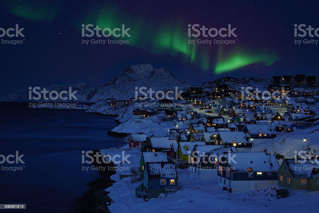 Nuuk Old Town Northern Light stock photo
