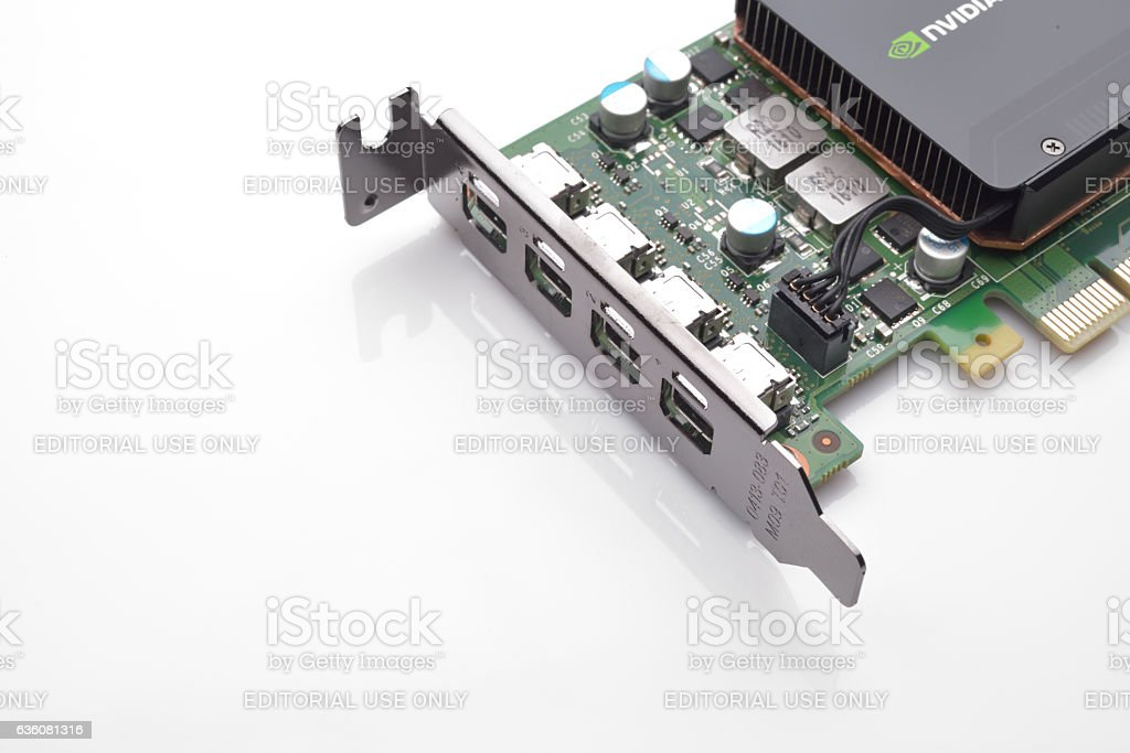 Nvidia Quadro K1200 from a powerful workstation isolated on white stock photo