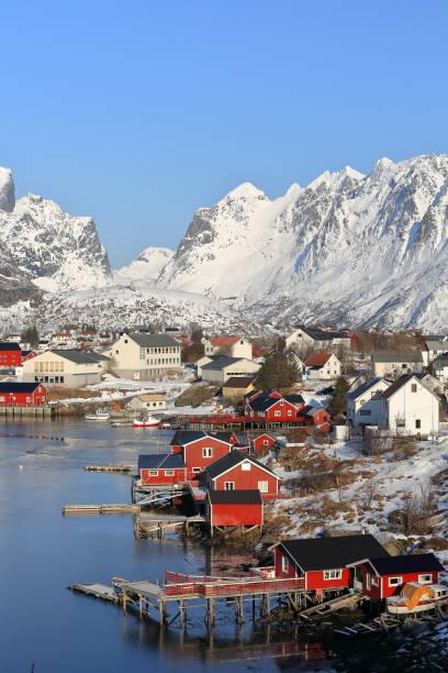 N-Stationen Blick über Reinevagen-Golf, Reittiere Reinefjord schließen. Reine-Moskenes-Lofoten-Nordland-Norwegen. 0285 – Foto