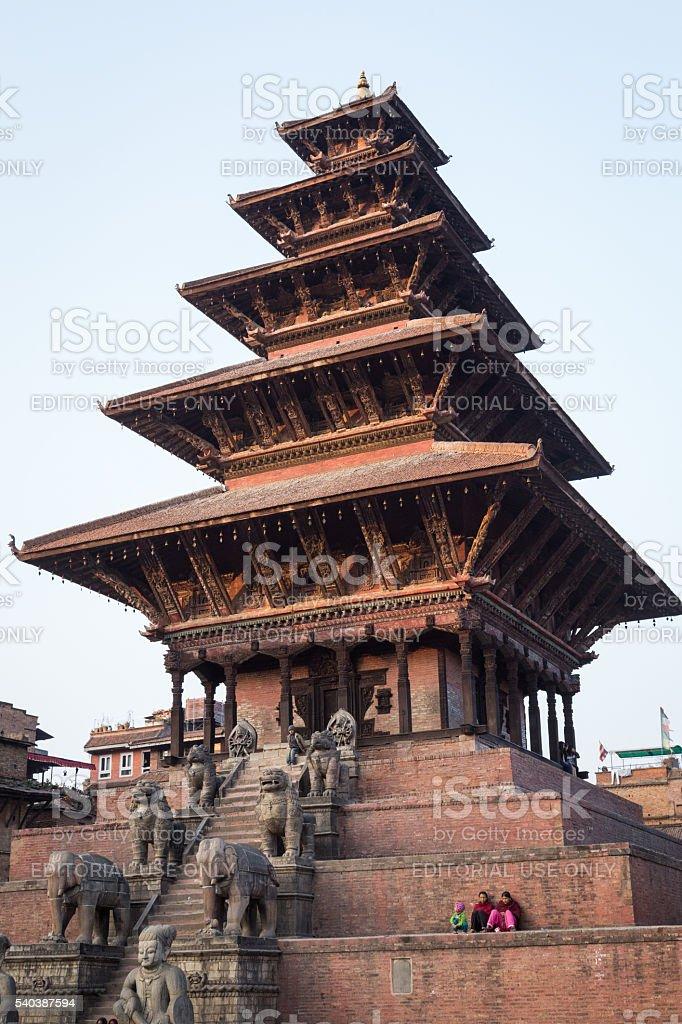 Nyatapola Pagoda on Taumadhi Sqaura in Bhaktapur, Nepal stock photo