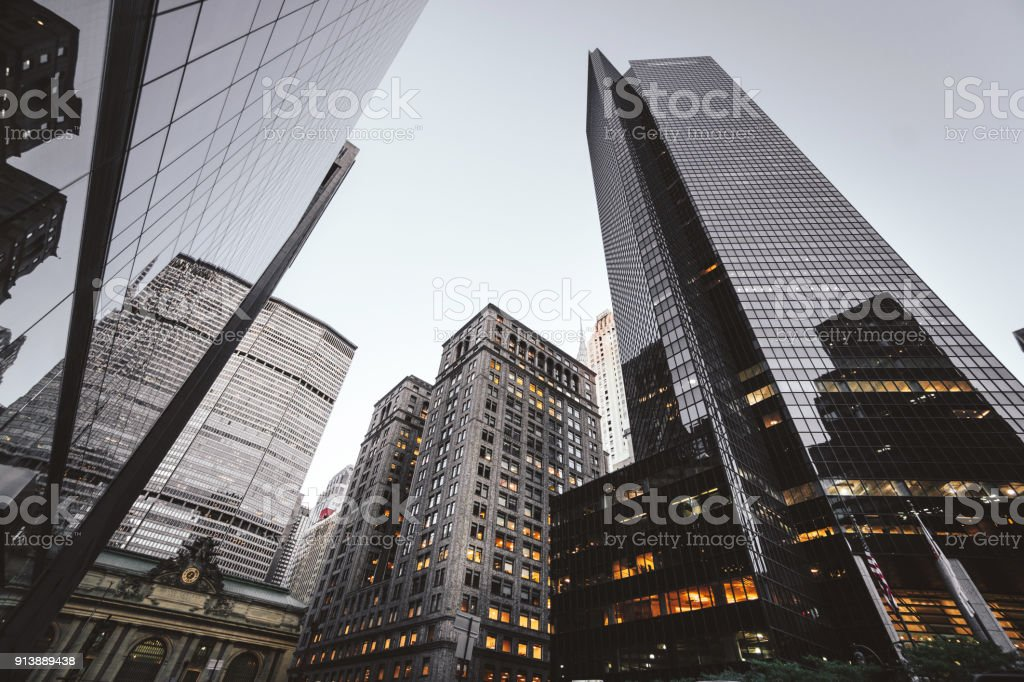 nyc downtown skyscrapers stock photo