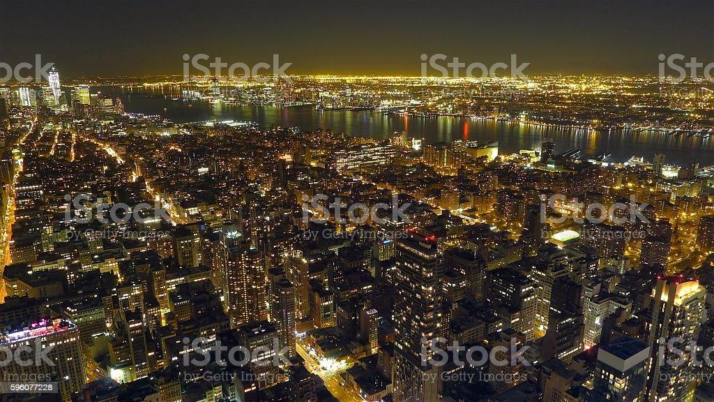 nyc manhattan night view royalty-free stock photo