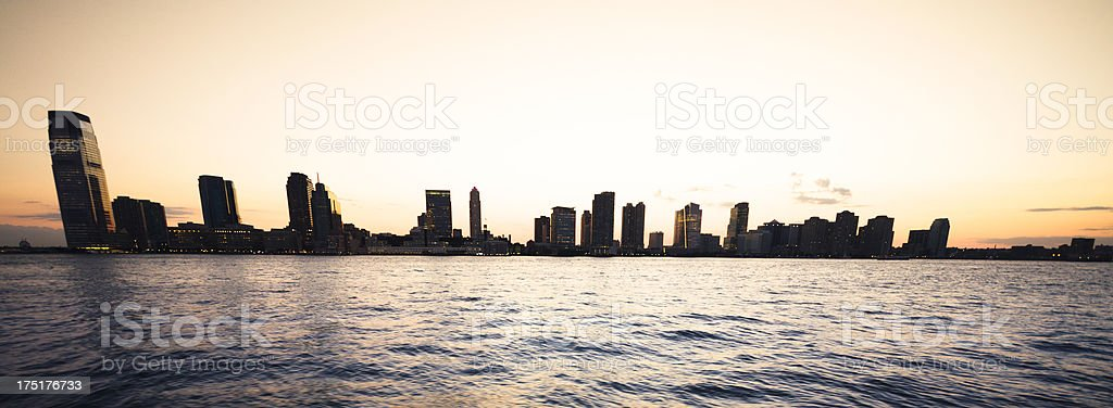 Nyc skyline waterfront at sunrise royalty-free stock photo