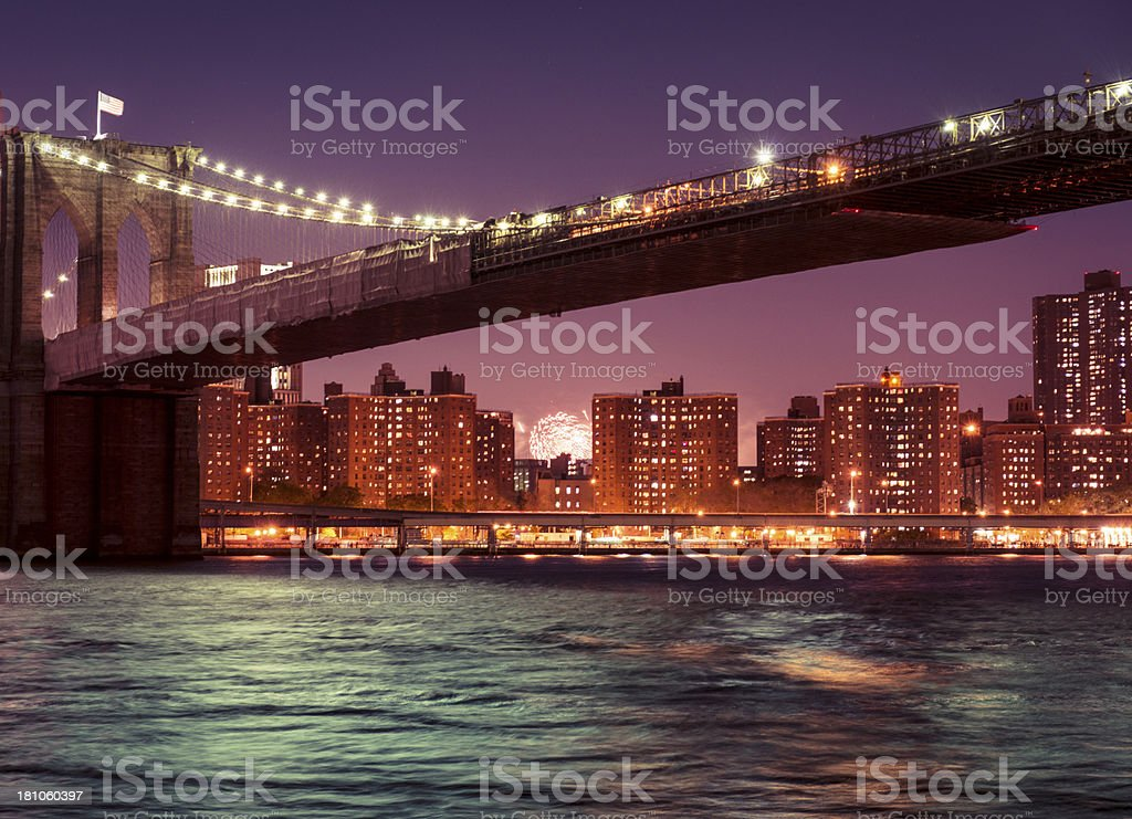 Nyc skyline with the 4th of july fireworks royalty-free stock photo