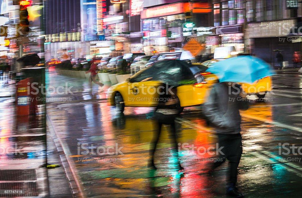 nyc times square rain night - artfull blurred