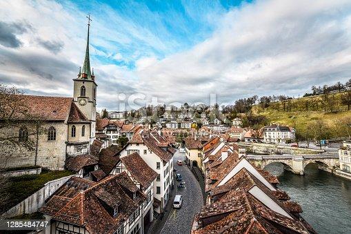Nydeggkirche Clocktower And Nydeggbrücke Bridge In Bern, Switzerland