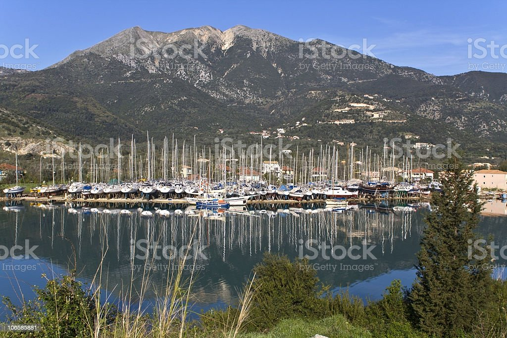 Nydri bay at Lefkada island, Greece stock photo