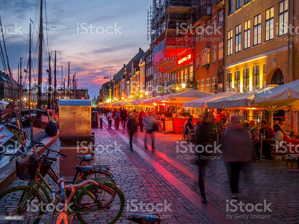 Nyhavn at sunset - Copenhagen, Denmark. stock photo