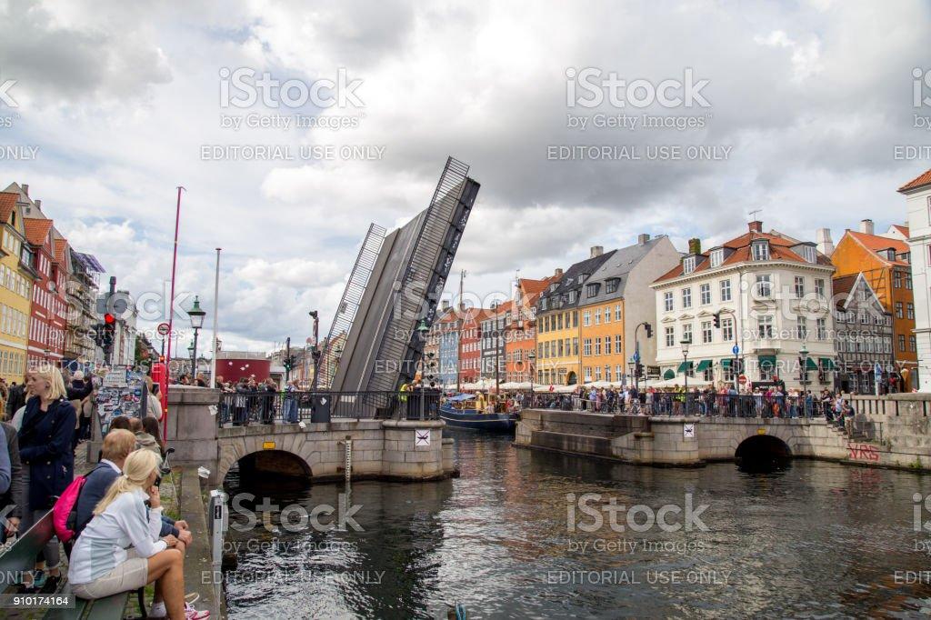 Nyhavn Drawbridge in Copenhagen stock photo
