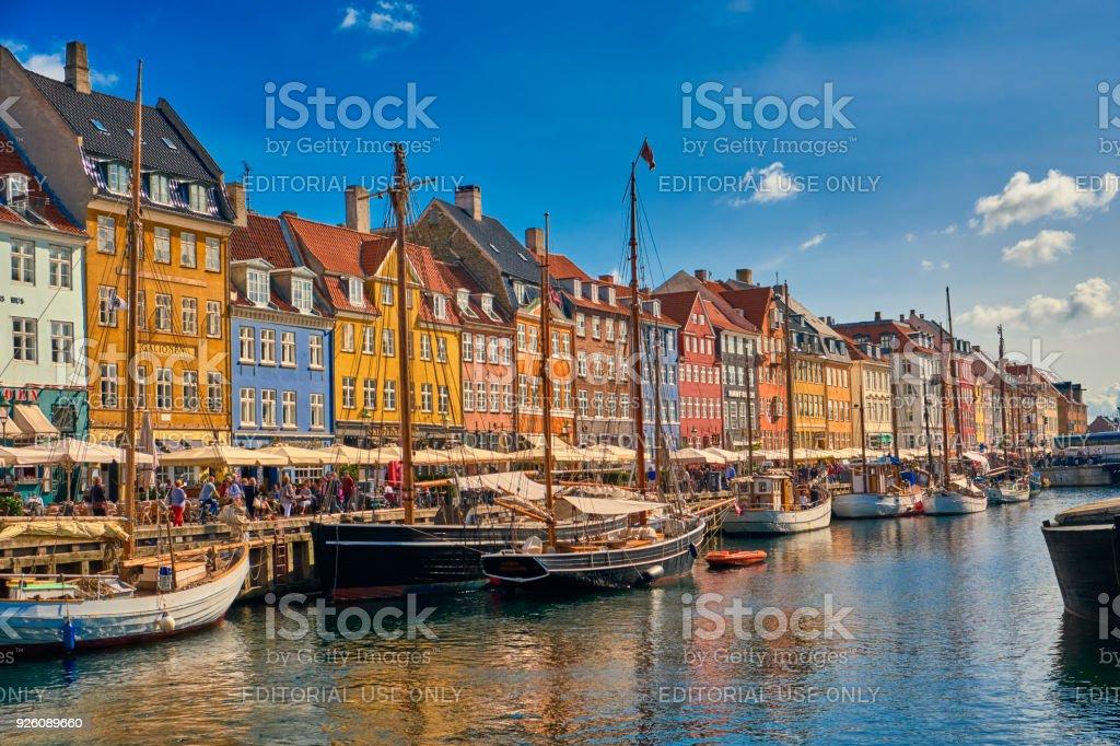 Nyhavn harbor in Copenhagen stock photo