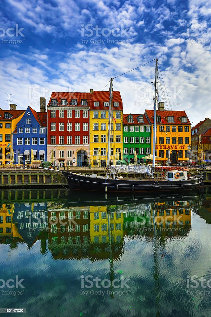 Nyhavn harbour Copenhagen Denmark stock photo