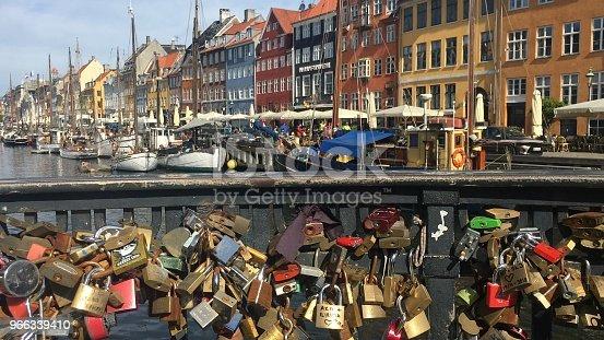 Nyhavn harbour in Copenhagen  with love locks in the forground