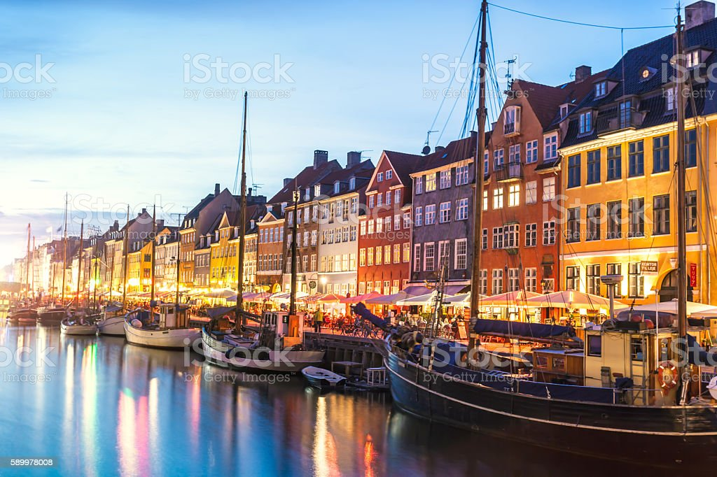 Nyhavn in the night stock photo