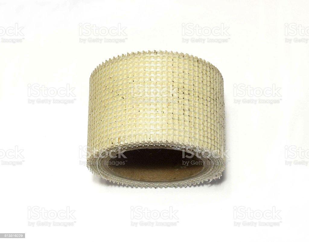 Nylon sheet rock tape photo on white. stock photo