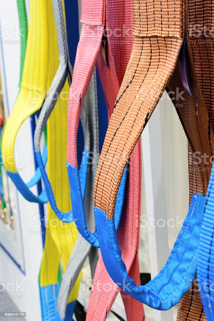 Nylon soft lifting slings stock photo