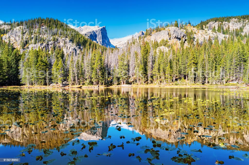 Nymph Lake and Hallett Peak in Rocky Mountains National Park Colorado USA stock photo