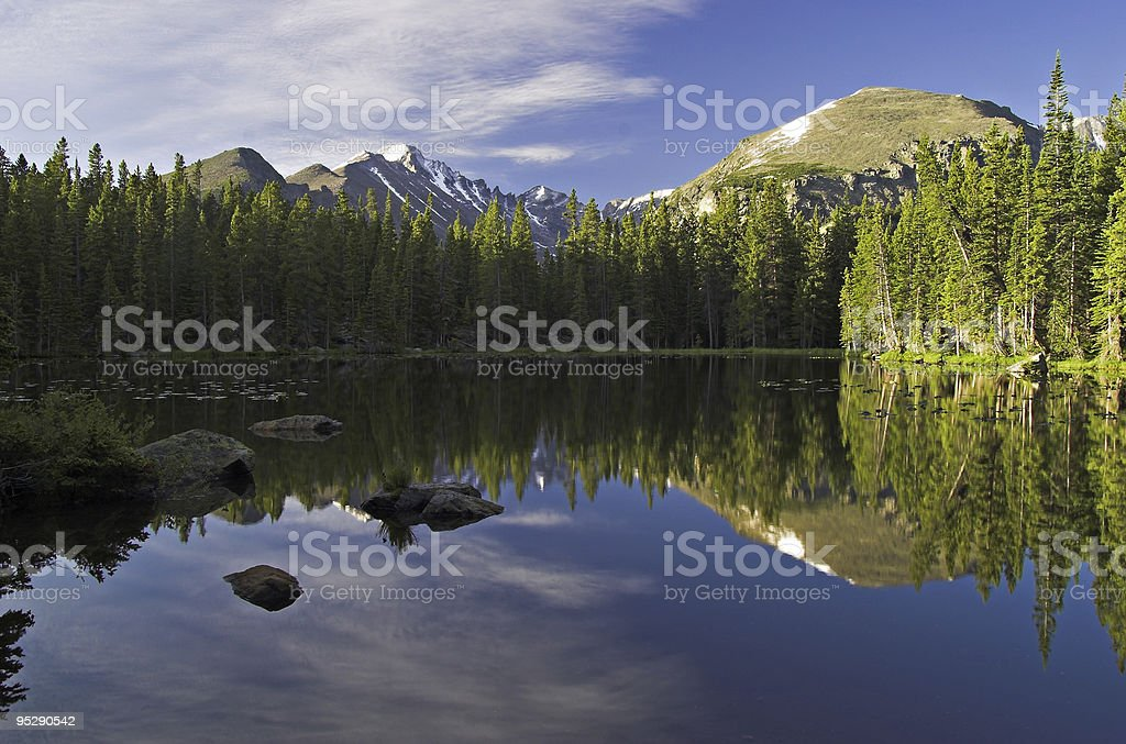 Nymph Lake & Longs Peak Sunrise, Rocky Mountain National Park stock photo