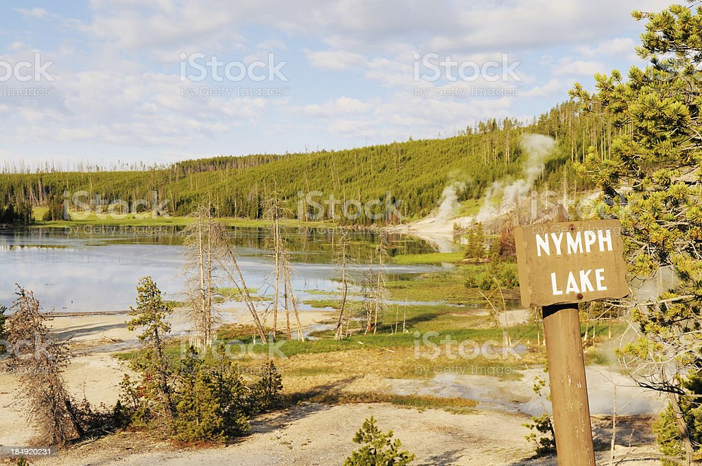 Nymph Lake Sign Yellowstone National Park Wyoming USA stock photo