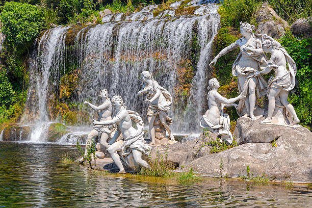 nymphs mythological statues mythological statues of nymphs women in the garden Royal Palace of Caserta artemis stock pictures, royalty-free photos & images