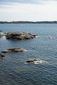Nynäshamn Archipelago with blue sky.