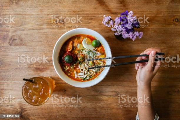 Nyonya Curry Laksa Stockfoto en meer beelden van Aziatisch eten