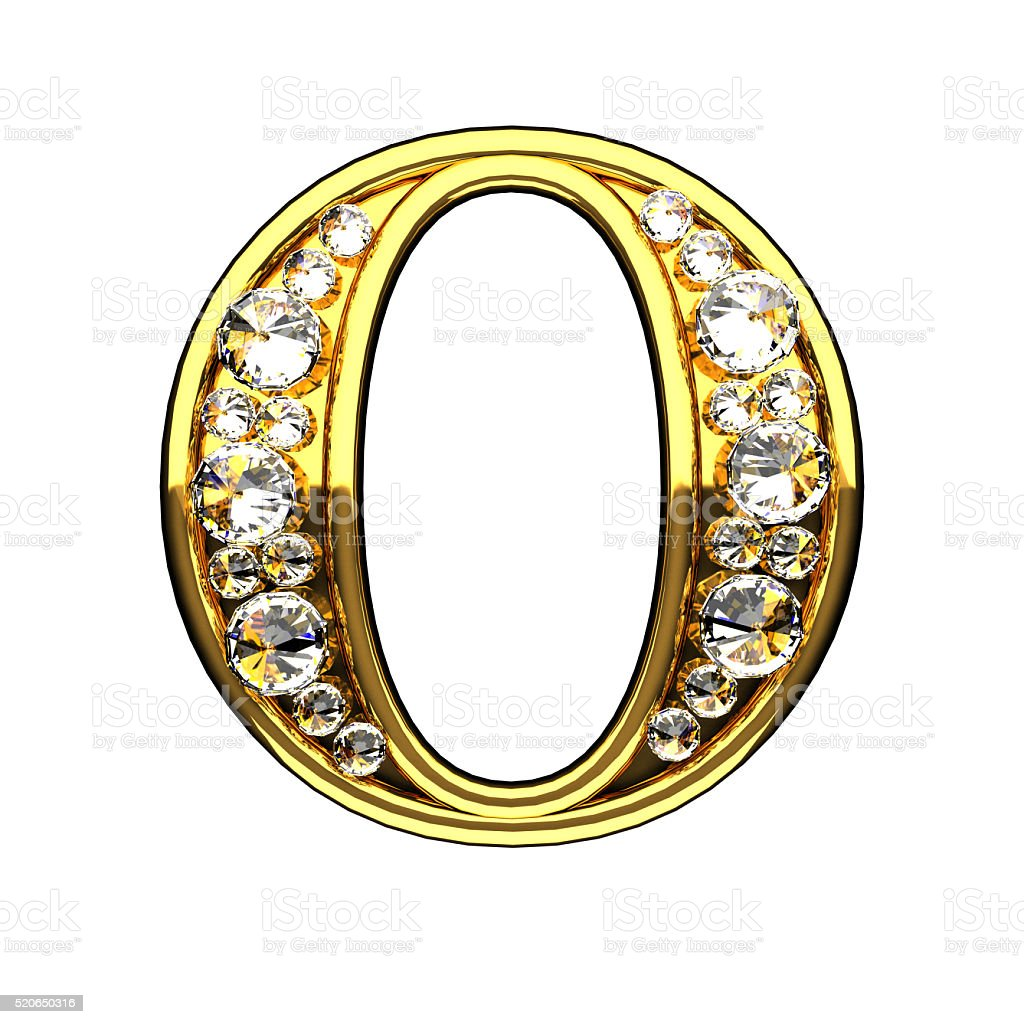 o isolated golden letters with diamonds on white stock photo