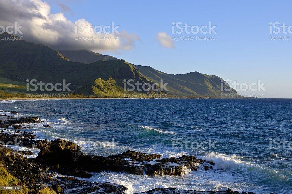 Oahu coastline on a January afternoon royalty-free stock photo