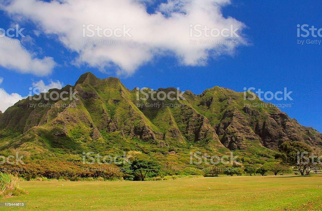 Oahu Hawaii Ko'olau mountain scenic stock photo