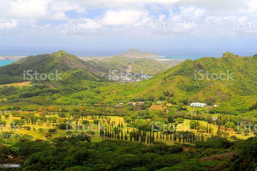 Oahu Hawaii resort hotel golf course and Ko'olau mountain scenic stock photo