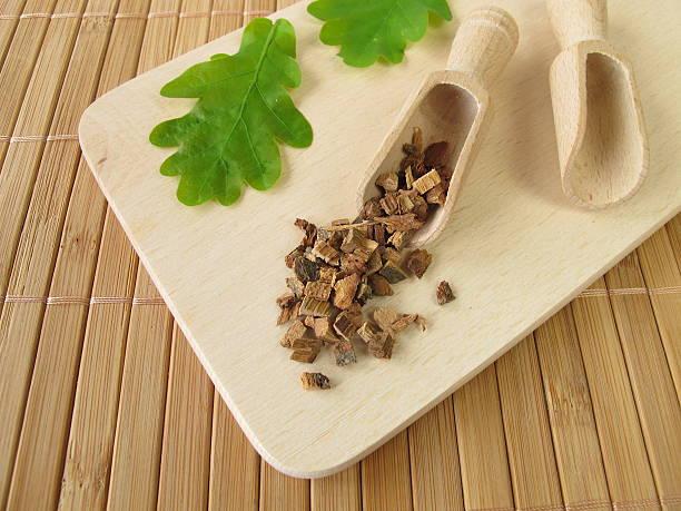 Oak bark, Quercus cortex stock photo