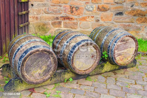Oak barrel or wine barrel used to store beer and wine in a brewery.