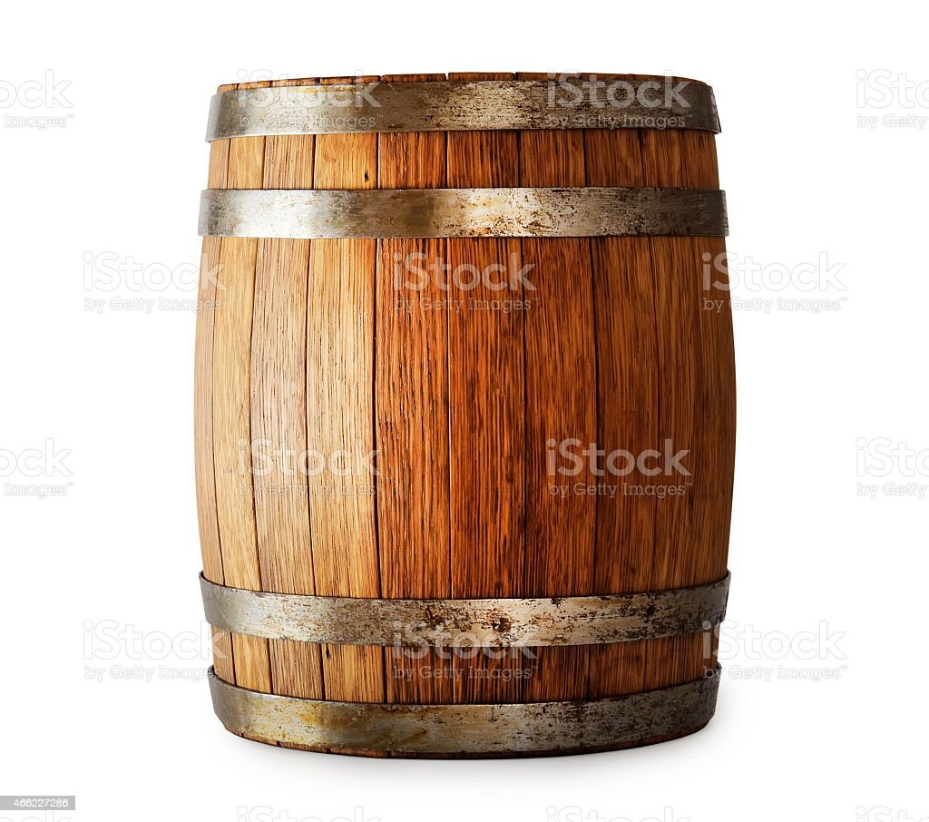 Oak barrel with metal strapping isolated on white stock photo