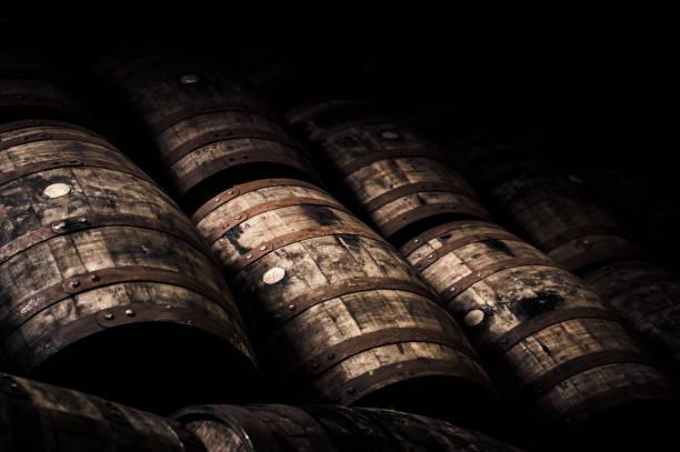 oak barrels - barrel stock pictures, royalty-free photos & images