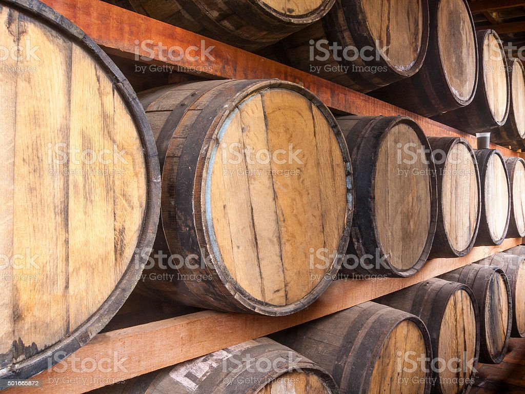 Oak barrels storage stock photo