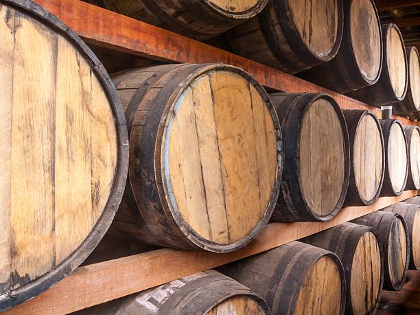 Oak barrels storage stock photo